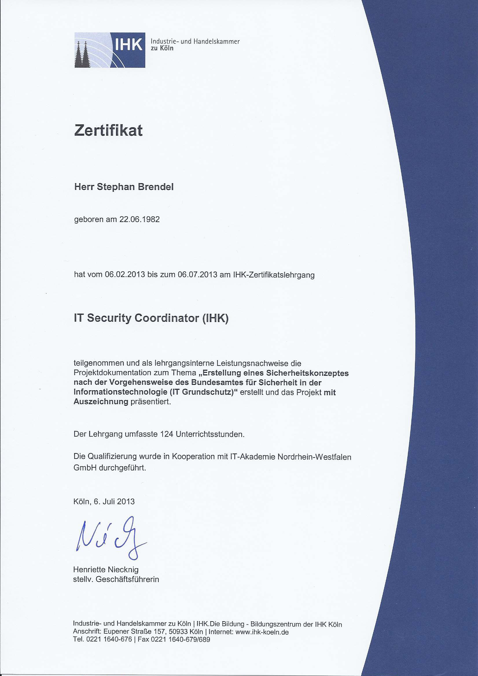 Zertifikat IT Security Coordinator